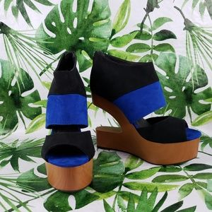 - FRH Farenheight wedges suede black and blu…